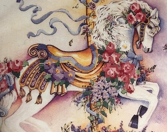 "APRILSALE Vintage, 1992, Dimensions, ""Floral Carousel Horse"" No- Count, Cross Stitch Kit Stitched on 14 Count White Aida 14 by 11 inches wit"