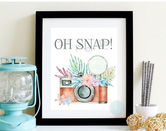 PRINTABLE ART Camera Print Oh Snap! Quote  Watercolor Camera Printable Wall Art Camera Art Watercolor Camera Floral Camera Artwork Floral
