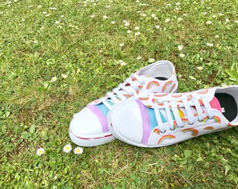 Sparkle Rainbow Hand Illustrated Sneakers - Shoes - Colourful - Glitter - Footwear  - Lucky -Lace Ups - OOAK - Illustration