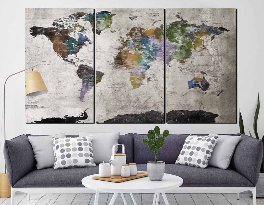 Highly detailed world map wall artlarge world map world map canvas highly detailed world map wall artlarge world map world map canvasabstract world map3 panel wall art mapvintage world mapabstract map gumiabroncs Choice Image