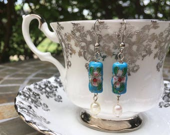 Vintage style floral aqua bead & pearl earrings