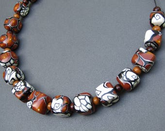 Necklace silver polymer clay beads.