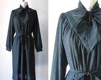 Vintage 1980's secretary dress black STRIPED ASCOT long sleeve - L