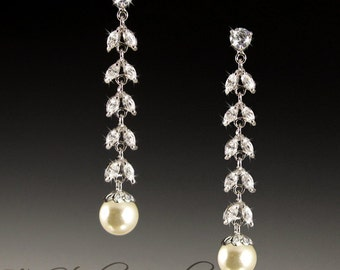 CZ and Pearl Chandelier Bridal Earrings - CALISTA