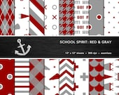 School Spirit Digital Paper Set -- Red & Gray, School Colors, Pep Rally, Homecoming, Scrapbook, Seamless -- Personal or Commercial Use