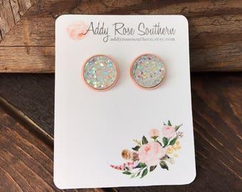 12mm clear druzy earrings in rose gold, druzy studs, druzy earrings, rose gold studs, rose gold druzy