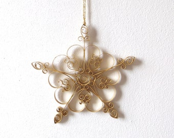 Golden Paper Snowflake, 5 in Paper Quilled Snowflake, Quilled Star, Christmas Star, Christmas Ornament, Christmas Decoration, Paper Quilling