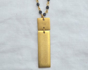 Rectangular Tag Necklace, Gold with Black Crystal Rosary Chain.