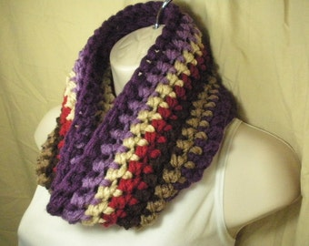 Multicolor Striped Fashion Cowl Infinity Circle Scarf Neckwarmer