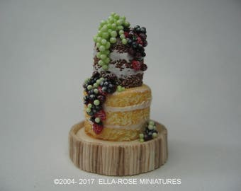 12th scale miniature Naked Frosted Fruits Cake