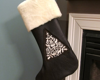 Leather Embroidered Christmas Stocking, Fur Trim Christmas Stocking