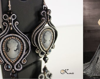 Elegant black and silver cameo soutache earrings - hand embroidered jewelry - shimmering long chandelier earrings - perfect gift for her