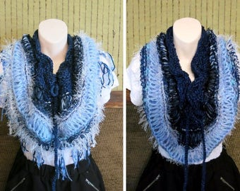 Infinity Wool Cowl, Chunky Women's Blue Knitted Scarf