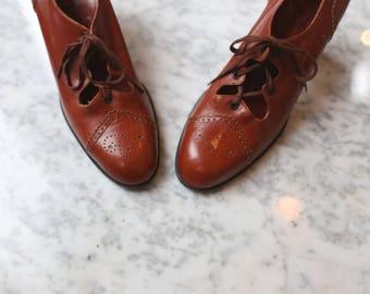 1970s Yves Saint Laurent Brogue Heels { 5-6 } Vintage 70s YSL Oxford Shoes