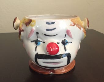 Clown Cookie or Biscuit Jar (no lid) Re-purposed Planter? Lipper and Mann