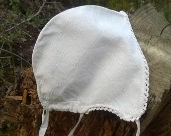 Victorian Fleece Bonnet Handmade White Floral Piqué Cotton Lace Trim French Clothing for Costumes Movies Plays #SophieLadyDeParis