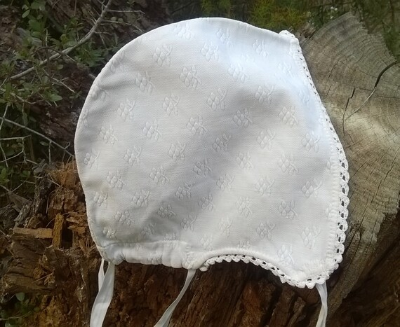 Victorian Fleece Bonnet Handmade White Floral Piqué Cotton Lace Trim French Clothing for Costumes Movies Plays #SophieLadyDeParis