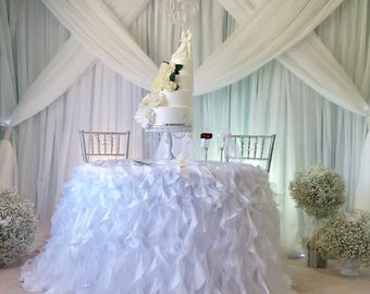 White Ruffle Tablecloth, White Curly Willow Tablecloth, White Curly Sash Tablecloth