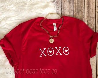 XOXO TShirt, Valentines Shirt, Valentines Day Shirt, Womens Valentine Shirt, XOXO Shirt, Hugs and Kisses