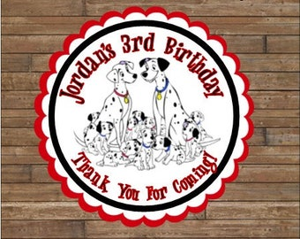Personalized 101 Dalmations Stickers - Dalmations Favor Tags - 101 Dalmations Birthday