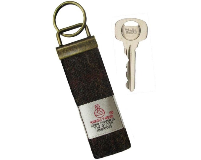 Harris Tweed Chocolate Brown & Russet Pure Wool Keyring On Chunky Metal Key Fob