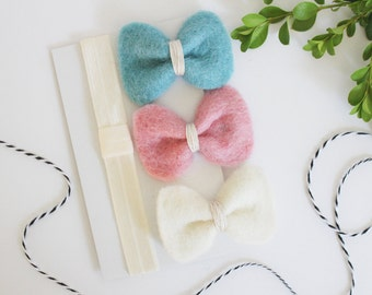 Hair Accessories For Girls - Several Colors - Felt Bows - Harebow Classic Set with rounded corners