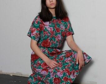 Vintage Rose Print Skirt Set / Floral Two Piece Skirt Set / Size L Large