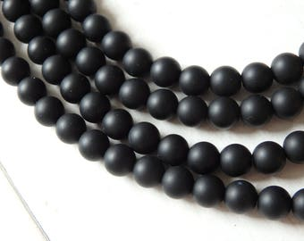 6mm Black agate beads - full strand of smooth round black agate beads, smoky black agate beads, gemstone beads, 6mm matte black agate beads
