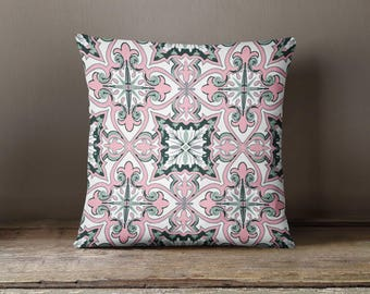 Blush Tile Print Pillow