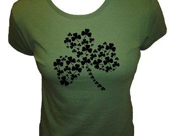 Shamrock 4 Leaf Clover Shirt -  T Shirt - Four Leaf Clover - St Patricks Day - Organic Bamboo / Cotton Womens Shirt - Gift Friendly
