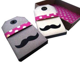 30 Mustache Parcel Tags Box - Medium - 15 Kraft Brown - 15 Cream - Mustache Party Favor Tags