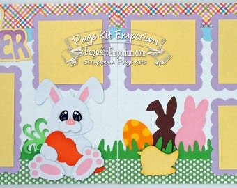 Scrapbook Page Layout Easter Spring Bunny Chick Boy Girl Baby 2 page Scrapbook Layout Kit 118