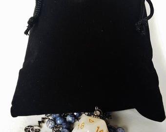 D20 necklace: dice pendant, lapis lazuli, Dungeons and Dragons necklace,  D&D necklace, magic wizard cleric druid palladin, free dice bag