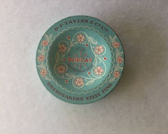 Antique vintage old sewing tin blue Dorcus pins for quilting, patchwork, dressmaking or display