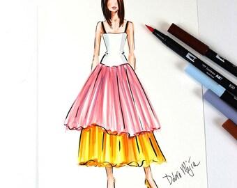 Pink and Yellow Tulle Dress Fashion Sketch, Fashion Wall At, Fashion Art, Fashion Illustration, Marker Sketch,  Girly Sketch, Fashion Print