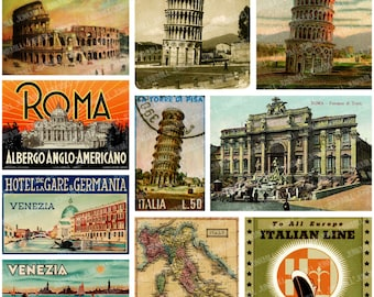 TRAVEL ITALY - Digital Printable Collage Sheet - Vintage Italian Postcards & Luggage Labels from Rome, Venice, Pisa, Instant Download