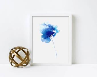 Iris Watercolor / Iris Painting / Watercolor Painting / Iris Wall Art / Blue Abstract Flower / Gift For Her / Art Print - Iris 4