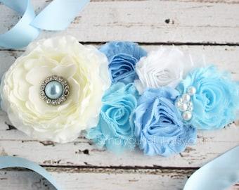 SALE! White Blue Maternity Sash, Belt, Photo Prop, It's a Boy Pregnancy Baby Shower Belly Sash, and Wedding Bridal Bridesmaid Sash