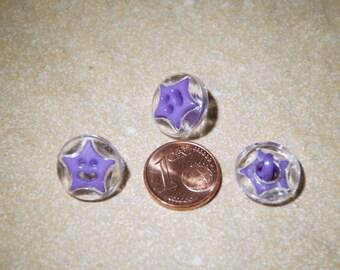 button star 15mm purple