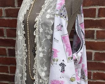Fabric Handbag Purse Tote Large French Market Bag Pink White PARIS Toile Vintage Style Tote Shoulder Bag Messenger Slouchy Bag Diaper Bag