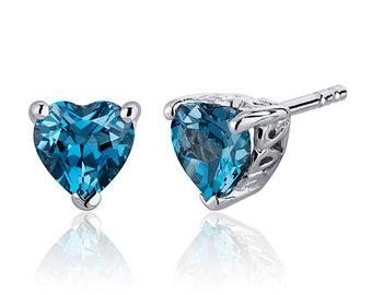 2.00 Carats London Blue Topaz Heart Shape Stud Earrings in Sterling Silver