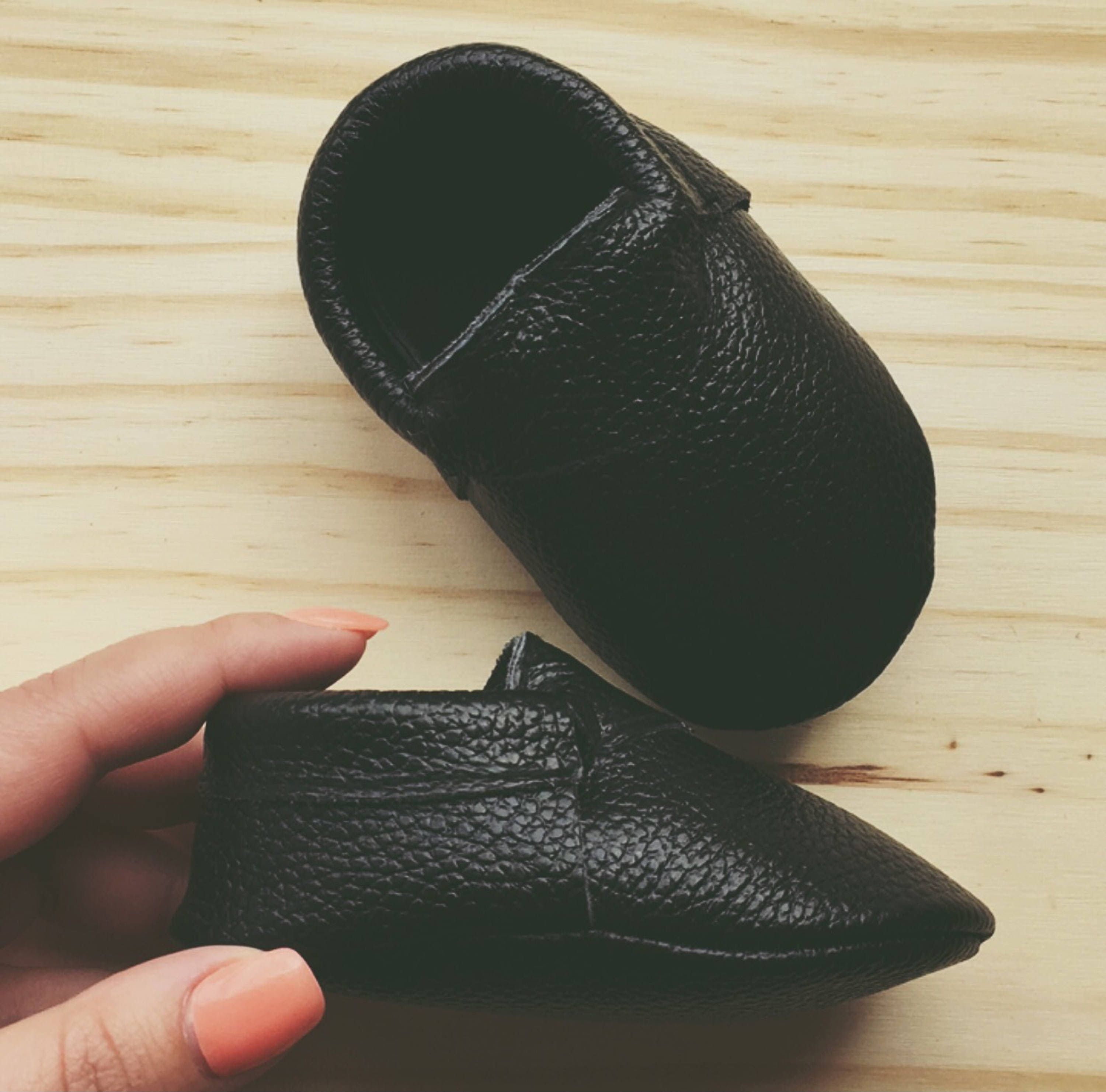100 % Genuine Black Leather Baby Shoes Black Baby Loafers Shoes Baby