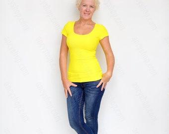 Yellow Basic Tee, Casual Shirt, Yellow Top, Short Sleeve TShirt, Yoga Tee, Cleavage Top, Running Shirt, Slim Fit Top, Yellow Shirt