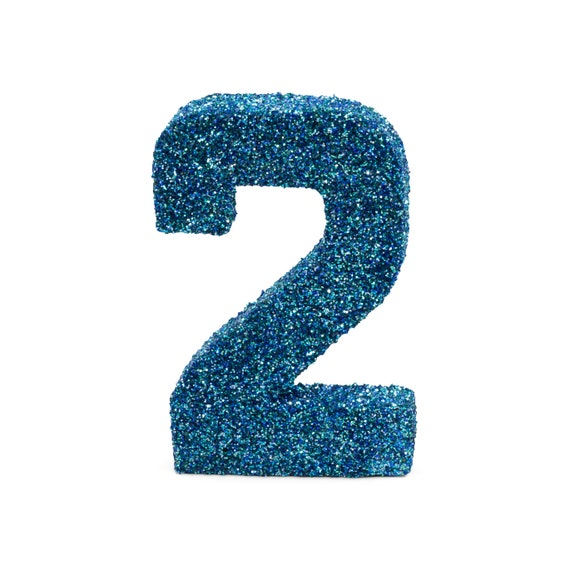"""8"""" Glitter Number 2, Paper Mache Number 2, Giant Blue Number, Centerpiece Number Two, Table Letters, Large Decorative Blue Number Birthday"""