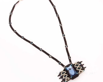 Black Beaded Necklace with Pendant of Blue Rectangle Swarovski Crystal Stone, Black Spikes, Silver and Crystal Beads Embellishment. S183