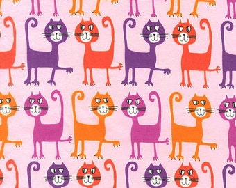 Dancing Cats Coral Pink FLANNEL  Fabric 1 yard