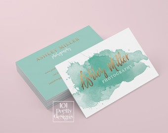 Watercolor business card template rose gold printable business card design gold and green business card rose gold foil makeup artist emerald