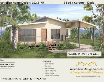 2 Bed + Carport Home Design | House Plans For Sale | Living Area 67.6 M2