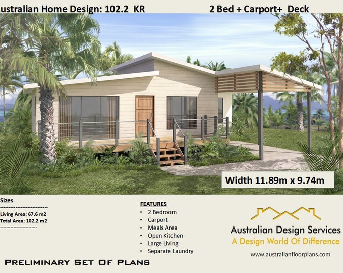 2 Bed + Carport home design | House Plans For Sale | Living Area 67.6 m2  Total Area 102.2 m2 or 1097 sq foot