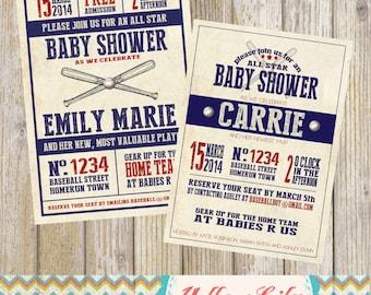 Vintage Baseball Baby Shower Invitation- Baseball / Baby Shower / Vintage / Old School / Baby